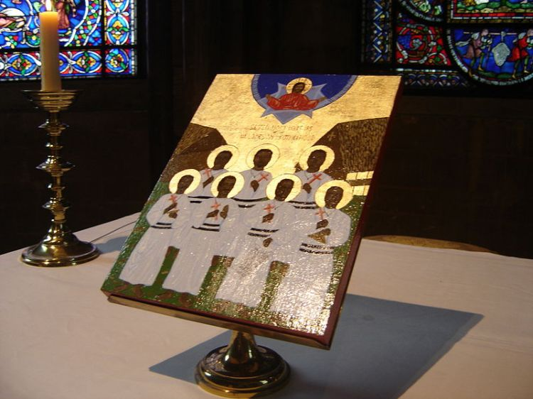 Icon of the Martyrs of the Melanesian Brotherhood at Canterbury Cathedral. Seven Brothers were killed in 2003 while on a peace mission, by a rebel leader who refused to disarm after the Townsville Peace Agreement, which ended a period of ethnic violence from 1999-2000. (Wikipedia)