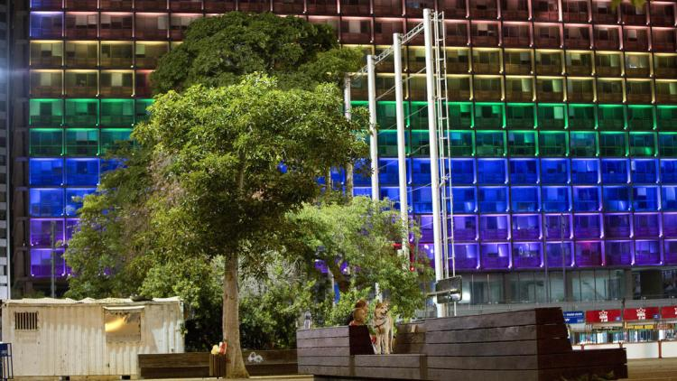City Hall in Tel Aviv, lit in honor of the 49 people killed at Pulse in Orlando. (Oded Balility/Associated Press)