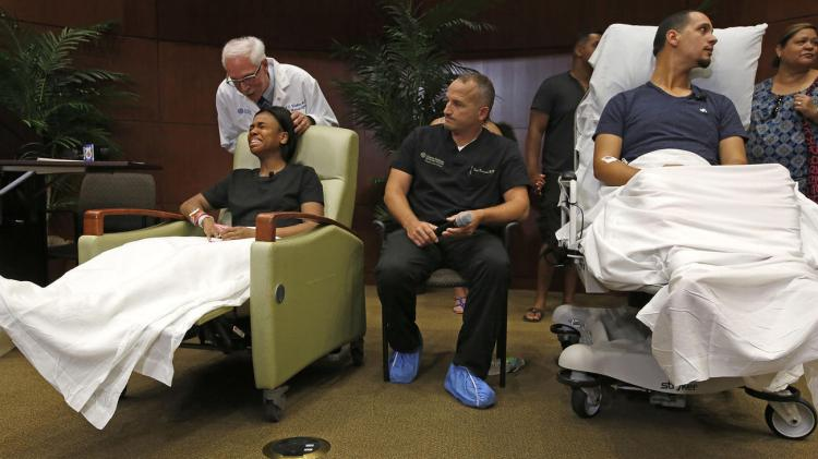 Some of the survivors of the mass murders at Pulse in Orlando were able to meet with the media yesterday, along with members of their medical team. We need to turn our prayers to the living. (Carolyn Cole/Los Angeles Times)