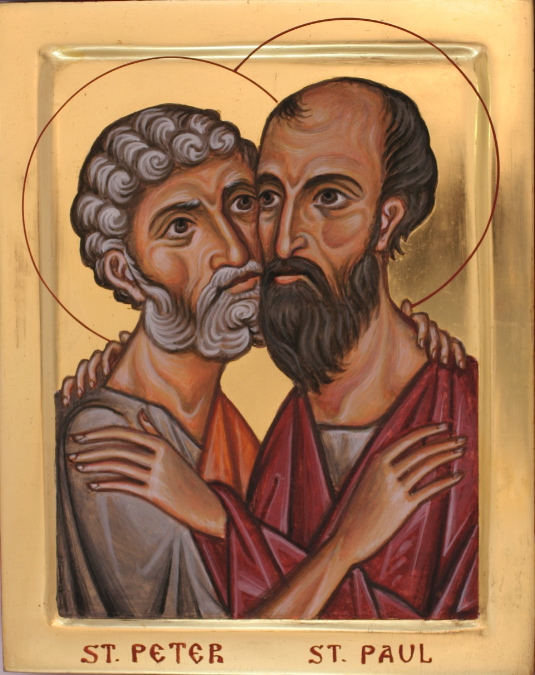 Peter and Paul clashed at times and agreed at times, but they were the greatest of all apostles because they complemented each other; Peter's impeccable judgment and character commanded universal respect, and no one could argue with Paul's evangelical genius and zeal. (iconographer unknown)