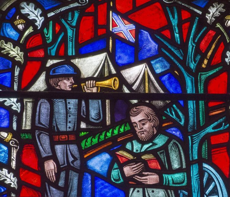 "Washington National Cathedral announced yesterday that it will remove the Confederate battle flag from a few of its stained glass windows, while retaining the rest of the images, after creating an educational display and engaging the community in discussions about racism. The cathedral said the windows were originally built in the late 1950s as symbols of ""reconciliation"" between North and South – but they could only have been interpreted that way by white people; to black folk they've always been racist icons. The cathedral's repentance comes during a wave of public Confederate removals due to the massacre of African-American churchgoers in Charleston, South Carolina a year ago. This window shows Confederate General Stonewall Jackson in a pious pose; most visitors didn't know the Confederate windows even existed. (kuow.org)"