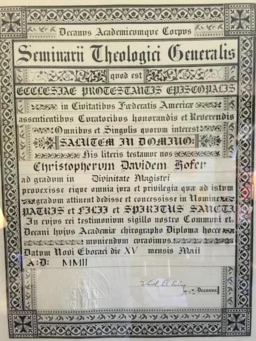 A diploma, in Latin, from the General Theological Seminary, New York, awarded in 2002. ¶ It's the policy of this website to minimize the use of Latin for mission purposes, but liberal use of Latin was considered a hallmark of High Church Anglicanism in the 19th Century and is a distinctive feature of this seminary; so let them have their fun. (Courtesy of the Rev. Christopher Hofer, M.Div.)