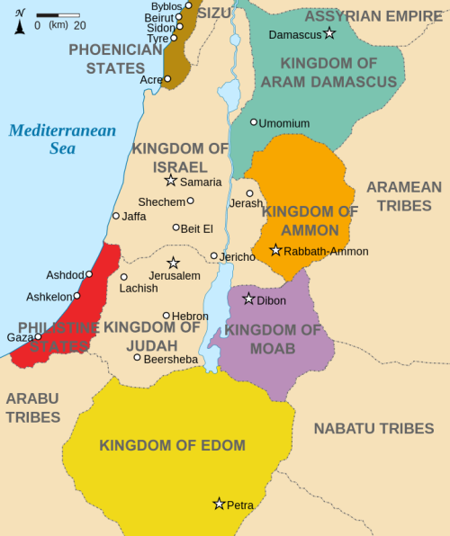 Old Testament nations as of the 9th Century before Christ. Joshua's capture of Jericho was strategically important in Israel's push for the Sea. (Wikipedia)