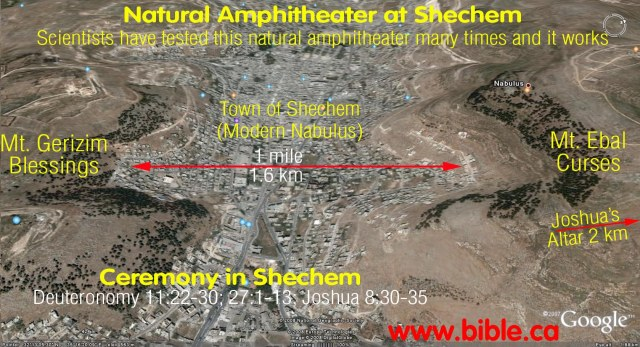 Joshua's complete reading of the Law took place at a natural amphitheater between two mountains, Ebal and Gerizim; the altar he built is nearby. Formerly known as Shechem, the modern town of Nablus now lies in the valley between them. (Bible.ca)