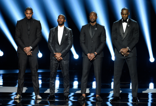 Carmelo Anthony, Chris Paul, Dwyane Wade and LeBron James teamed up at the ESPY for a moving call to action for other athletes to use their celebrity, influence and resources to make a difference in a divided America plagued by gun violence, injustice and racism.