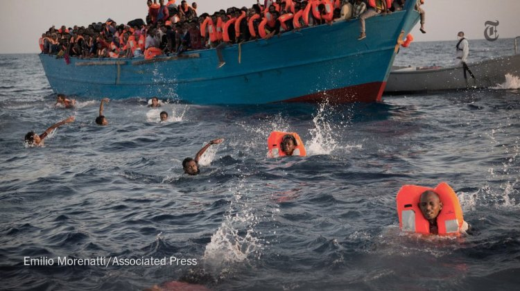 "The Italian Navy and several non-governmental organizations rescued 3000 refugees in 20 wooden boats Monday off the coast of Libya. Maybe they should have written polite applications to the High Commissioner for No, then waited two years for a nice proper ""vetting,"" but they decided to risk their lives and grab onto anything that floats. (Emilio Morenatti/Associated Press)"