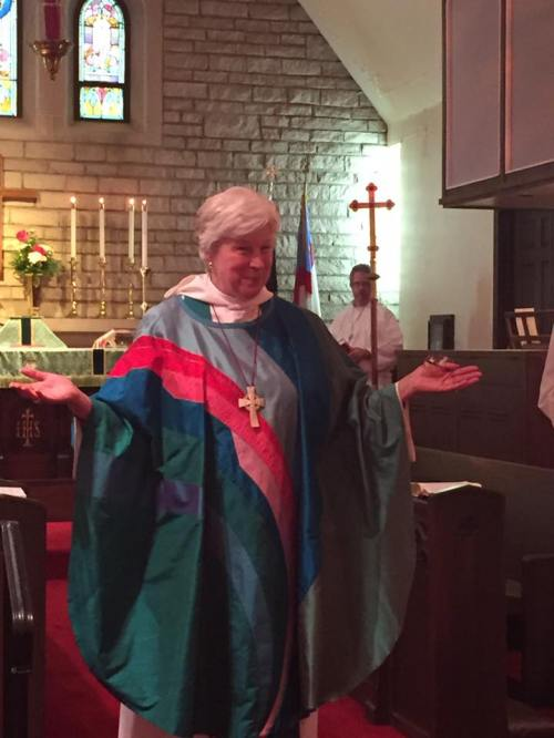 The Bishop of Indianapolis Cate Waynick said her official goodbye Sunday to Trinity Church, Anderson, Indiana; her successor will be elected this fall. She has served since 1997 and to a whole generation, she's the only bishop they've ever known. (Sean Sullivan)
