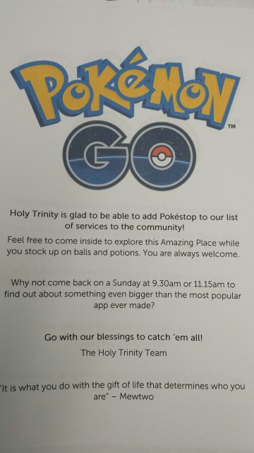 Holy Trinity, Kingston-on-Hull, East Yorkshire, has climbed aboard the Pokémon Go bandwagon, posting greetings to gamers and inviting them to explore the church. The game can facilitate community-building when like-minded people gather at a meaningful spot and discover each other. But there are other instances where locations are not much of a draw and churches don't know what to do with the gamers who do come. It has to be planned for and handled by knowledgable leaders, as in the example above; we haven't heard of any churches suffering sudden stampedes. (parish photo)