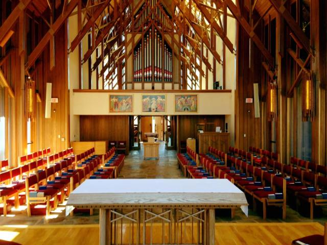 Chapel of the School of Theology at Sewanee: The University of the South in Tennessee; classes are starting up and the chapel has added two more sung services every week. (university photo)