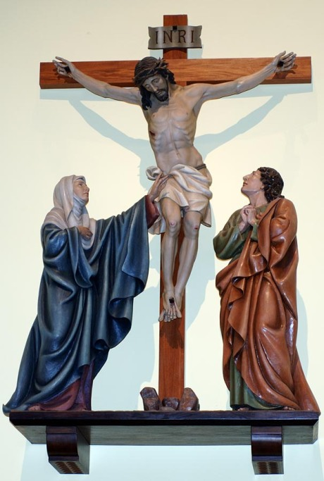 Jesus, Mary and John at the Crucifixion (St. John's RC Church, Westminster, Maryland)