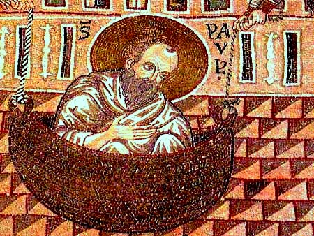 St. Paul Lowered in a Basket, detail of a mosaic at Monreale Cathedral, Sicily. (bible-people.info)