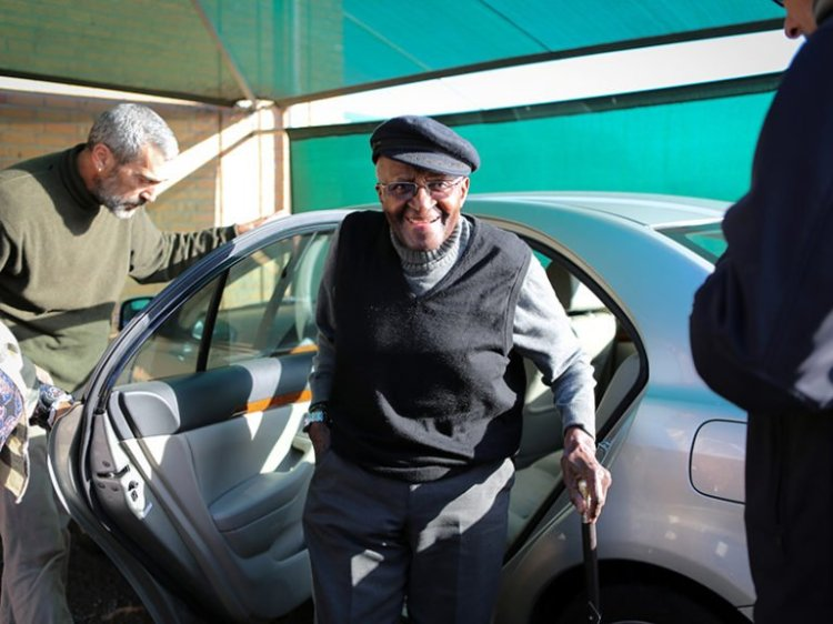 Archbishop Desmond Tutu was hospitalized again yesterday in Cape Town for a persistent infection; he's expected to remain there for a week or two. (Reuters)