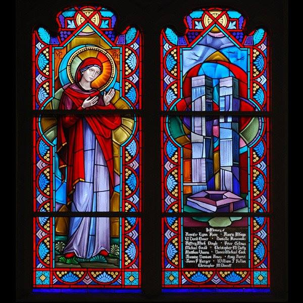 he 9/11 window at Corr Chapel, Villanova University, near Philadelphia, commemorates 15 alumni killed in the terrorist attacks 15 years ago in New York City, Washington and Shanksville, Pennsylvania. (university photo)