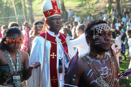 "The Rev. George Takeli was enthroned as Archbishop and Primate of Melanesia at the cathedral on Guadalcanal in April, to serve a province of 200,000 Anglicans in nine dioceses. In his sermon he said his goal is to develop the church as ""self-supporting, self-reliant, and self-propagating."" (Anglican Church of Melanesia)"