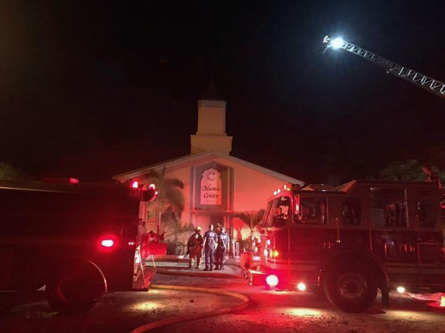 "Sheriff's police are blaming a fire early Monday at the Islamic Center of Fort Pierce, Florida on arson – and we ask you to condemn it with us, and pray for the mosque and Muslim communities in the United States. Thank God no one was hurt this time and police have surveillance video. ""If Jesus wouldn't do it, don't you do it either."" (Sheriff's photo)"