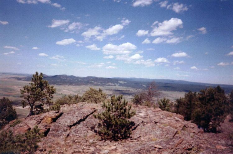 View of the Black Hills from the summit of Inyan Kara, Wyoming, the Lakotas' holy Mountain: this is what they're fighting for; the proposed oil pipeline is what they're fighting against; this is what they're fighting for. (Wikipedia)