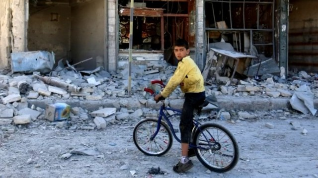 """Aleppo, Syria, last week. Monday's U.S. presidential debate ran 95 minutes without a single mention of Syria – and when the leading """"third party"""" candidate was asked about it earlier this month, he answered, """"What's Aleppo?"""" (Reuters)"""
