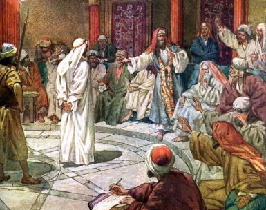 William Hole: Caiaphas presides over the Sanhedrin
