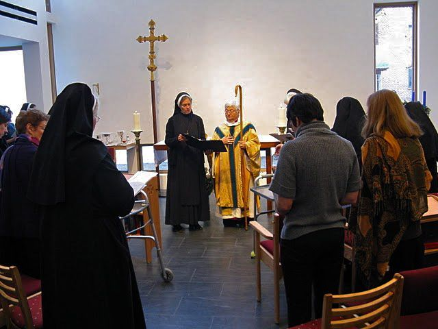 The Rt. Rev. Catherine M. Roskam, retired Suffragan Bishop of New York, blessing the new St. Hilda's House of the Community of the Holy Spirit, and consecrating the new chapel, 2010. (convent photo)