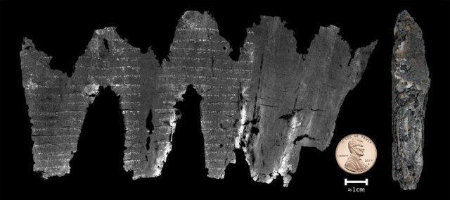 About 50 years ago archaeologists found a charred, ancient Bible scroll in the ark of a synagogue by the Dead Sea; it was nothing but carbonized parchment too fragile to unwind. So they put it away in hopes someday other scholars would figure it out. Now they have; a computer scientist at the University of Kentucky, Dr. W. Brent Seales, invented a computer program able to unwind and scan it without touching it, and reproduce it as if it were unspooled as above. It's thought to be nearly 2000 years old, the earliest known copy of a portion of Leviticus – and best of all, it matches word for word, letter by letter, the Masoretic text long considered the authoritative version, of which our Bibles are translations. By contrast, the later Dead Sea Scrolls contain a number of alterations or copying errors. Searles' technology is astounding, but the validation of the Masoretic text has great religious significance: if the dating is correct, this little fragment proves the Masoretic manuscript is the Hebrew Bible used at the time of Christ. (W. Brent Seales et al.)