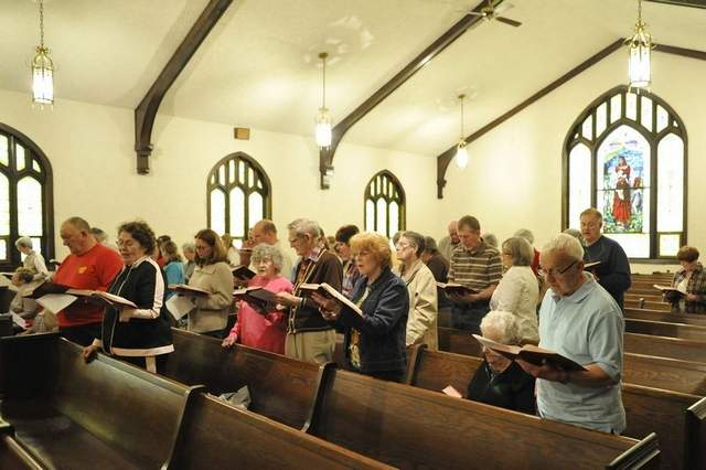 Jackson Heights United Methodist Church, West Point, Indiana: I see they also know the rule that you should never sit too close to the front. (Journal and Courier)