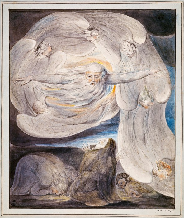 William Blake: God in the whirlwind, accompanied by angels. (Tate Gallery)