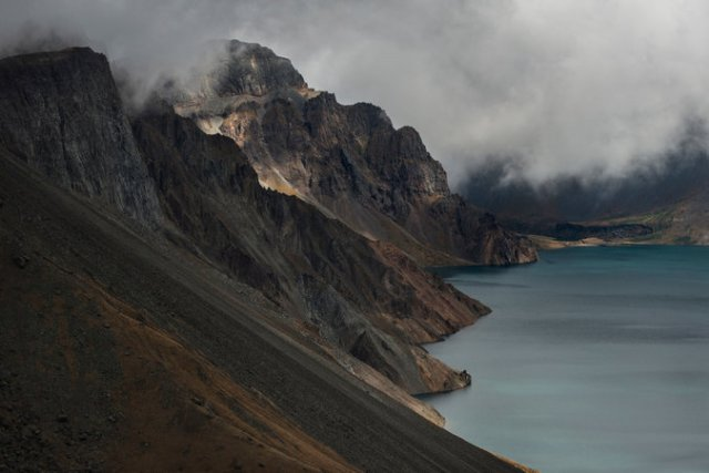 Lake Cheonji, or Heaven Lake, atop Mt. Paektu, the holy mountain of Korea on the Chinese border. It is sacred to both North and South Koreans; the latter must enter the area through China. (Gilles Sabrie/The New York Times)