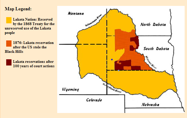 This map shows the former and current boundaries of the Lakota Sioux nation. The yellow area is their former habitation as of the treaty of 1868; in eight short years, all but the area in orange was taken back by the U.S. government by a second treaty, leaving the People with a tiny fraction of their former possession. Now the pipeline company, backed by an array of international bankers and corporations, wants to build just over the fence; but there are burial sites and other holy places all over the yellow territory. Big Oil won a preliminary court decision, then the Obama Administration immediately called a halt to further construction to ensure the Lakotas' rights are respected and their concerns addressed. (The New York Times)