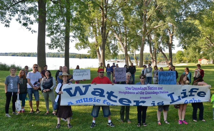 Members of the Onandaga Nation in upstate New York formed a prayer circle on Willow Bay of Onondaga Lake in solidarity with protests at the Standing Rock Indian Reservation in North Dakota, trying to prevent the building of an oil pipeline on sacred land right next to their property. The Onondagas say they have lived with heavy pollution of their lake and streams for over a century, even after a Superfund cleanup, and along with 130 other Native American tribes, they're trying to prevent the same thing from happening to the Lakota Sioux halfway across North America. The Episcopal Church has been heavily represented on Standing Rock since the 19th century, and the Primates of Canada and the USA have endorsed the protest. Watch for a video on the pipeline protest tomorrow morning. (syracuse.com)