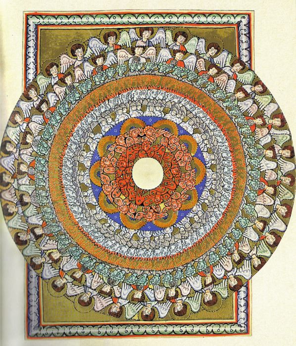 "An illumination of choirs of angels, from the Rupertsberg manuscript of Hildegard's first major book, Scivias, (""Know the Ways"") commissioned by Hildegard herself."