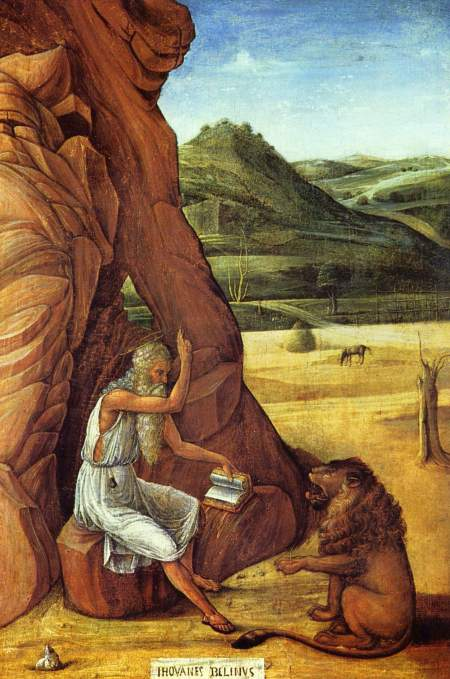 Giovanni Bellini: St. Jerome in the Desert. Born in northern Italy, he traveled extensively, including to France, Egypt and Palestine, and was very drawn to the ascetic life; but as a scholar he also needed to be in touch with other thinkers, including Augustine of Hippo, with whom he corresponded. He finally settled down in a cave near Bethlehem, and is often depicted with a lion which supposedly befriended him for removing a thorn from its paw.
