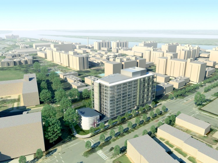 An artist's rendering of the planned St. Matthew's Apartments, on the waterfront in Southwest Washington, D.C. This is a church redevelopment project in which St. Matthew's Evangelical Lutheran Church will tear down its old building and erect a new 16,000 square foot worship space, community center and coffee shop topped by hundreds of luxury apartments; Episcopalians are doing something similar nearby. This kind of project is great for parishes in hot real estate markets, but in most locations churches have a hard time finding buyers. (via Washington Post)