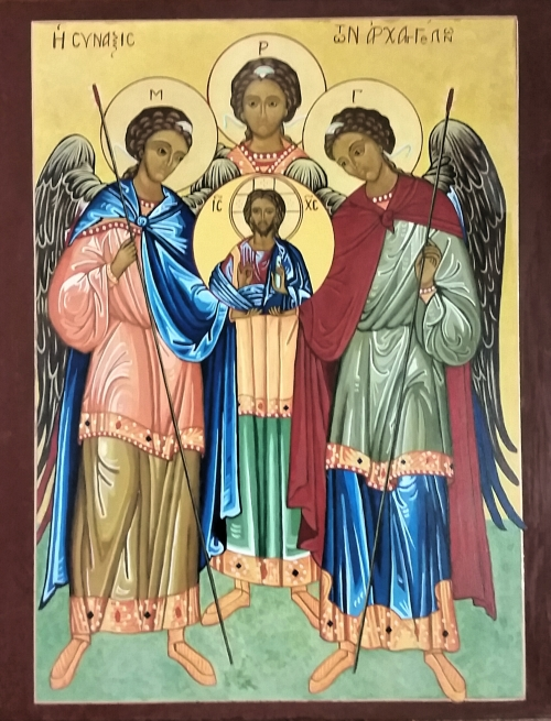 Synaxis of Archangels Michael, Gabriel and Raphael. The term synaxis means a common celebration of a group of saints who assemble for worship. (The Rev. Anjel Scarborough)