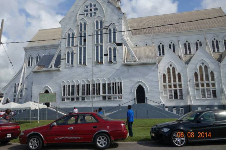 All Saints' Anglican, New Amsterdam, Guyana; All Saints' Day is Tuesday, so big doings are ahead. (source unknown)