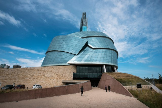 "The Canadian Museum for Human Rights in Winnipeg has been a great success with tourists in less-traveled Manitoba, but it has also run into complaints from First Nations leaders that it doesn't contain an exhibit on them, after centuries of genocide and cultural destruction - the most important blemish on Canada's human rights record. Curators say the entire museum is infused with First Nations' reality, to which the indigenous people reply, ""So where is it?"" (Aaron Vincente Elkaim/The New York Times)"