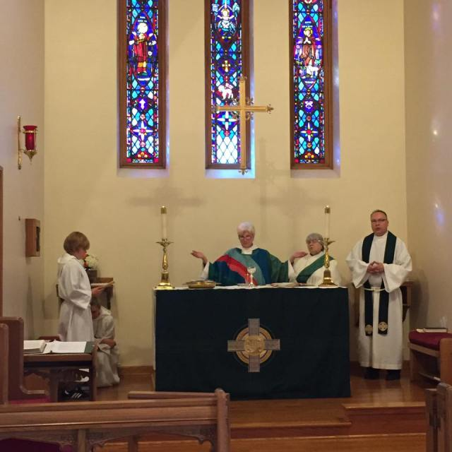 The Bishop of Indianapolis, the Right Reverend Catherine M. Waynick, celebrated the Eucharist and made her last visitation at St. Andrew's, Greencastle, Indiana on Sunday. (She also serves as our Episcopal Visitor.) She is retiring after 20 years in office; an election will be held Friday to choose her successor. Our Vicar predicts another woman will be called, which would mark the first time in Anglican history that a woman diocesan is succeeded by another one. Three of the five finalists are female. (Sean Sullivan)