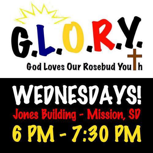 A social media-sized announcement for the GLORY youth program of our partners the Rosebud Episcopal Mission, on the Lakota Reservation in South Dakota. It's tonight! (The Rev. Lauren Stanley)