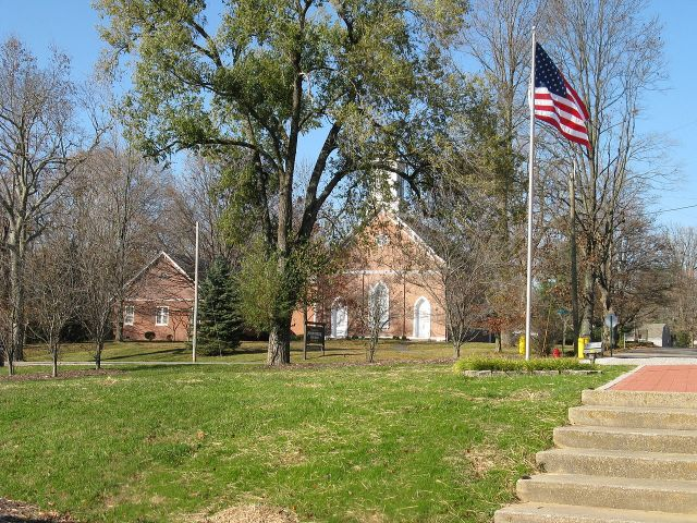 The Presbyterian Church in Hanover, Indiana, on the bluffs above the Ohio River. (Wikipedia)