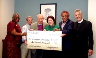 This is a small, low-resolution image taken 20 September at Episcopal Church headquarters in New York City, of our own Martha Kelley, left, and Vicar Josh Thomas next to her, presenting a symbolic check to the American Friends of Cuttington University in Liberia, establishing a scholarship in nursing in Martha's honour; she was in the inaugural class of Cuttington nurses who received B.S.N. degrees in the 1960s. We had hoped to receive a higher resolution image from the Presiding Bishop's office, but this is what they sent, and we publish it now so our Daily Office audience can see: we have fulfilled our mission pledges for 2016. Other mission partners include an after-school program in the Diocese of Brasilia; the Rosebud Episcopal Mission on the Lakota Reservation in South Dakota; and Lunches and Lessons at St. André's School, Mithon, Haiti. (We are still waiting to hear how the church and school were affected by the recent deadly hurricane in Haiti.) Thank you for your support. (Sellers Kennington, Office of the Presiding Bishop)