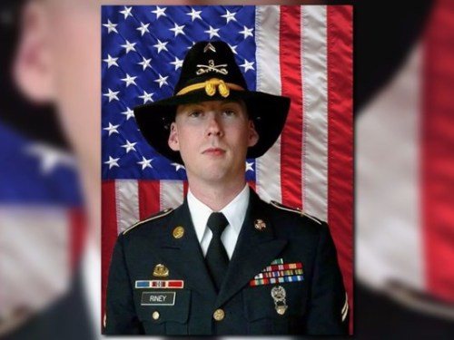 "Highly decorated Sgt. Douglas J. Riney, 26, of Fairview, Illinois died of wounds received after encountering ""hostile enemy forces"" in Kabul, Afghanistan. Riney was killed with civilian Army employee Michael G. Suaro. Riney's awards and decorations include the Purple Heart, Bronze Star, Army Commendation Medal, four Army Achievement Medals, Army Good Conduct Medal, National Defense Service Medal, Afghanistan Campaign Medal with three campaign stars, Global War on Terrorism Service Medal, Noncommissioned Officer Professional Development Ribbon, Army Service Ribbon and NATO Medal. (U.S. Army)"