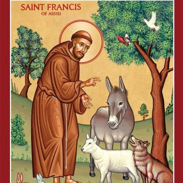 Francis's love for animals has made him very popular; today let's also start to emulate his love for beggars, lepers and the poor. (artist unknown)
