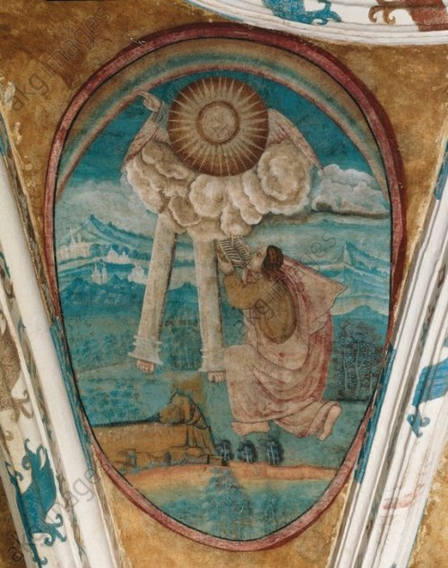 Juan Gerson, 16th C.: St. John Eats the Scroll, vaulting mural at Tecamachalco Monastery, Puebla City, Mexico. (akg-images)