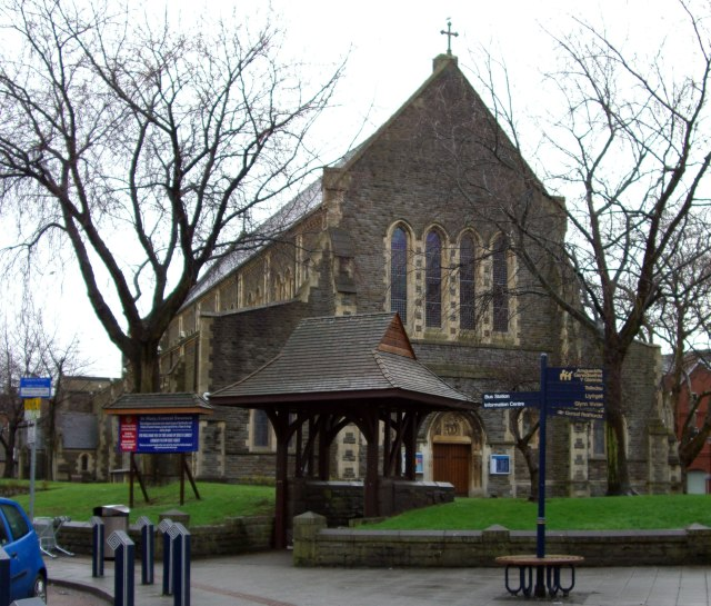 St. Mary's Collegiate and Parish Church, Swansea, Wales; there's been a church there since 1328; this building dates to about 1740, then it was mostly rebuilt in the 1890s. (Wikipedia)