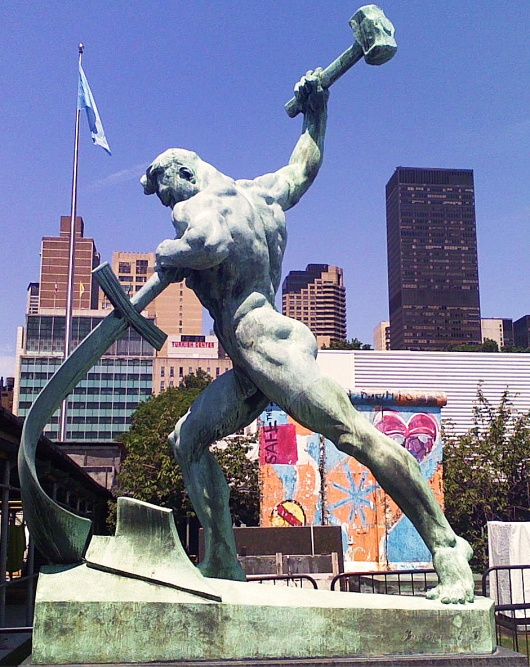 Yevgeny Vuchetich, 1959: Swords into Plowshares, in the garden at the United Nations, New York City. (Google)