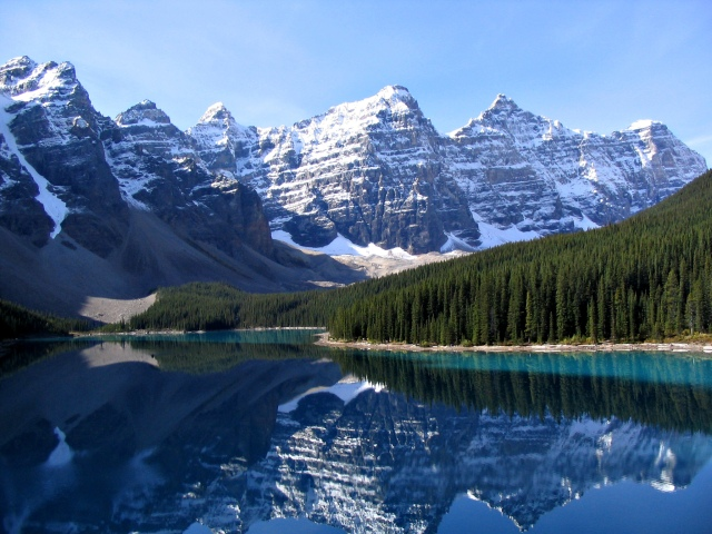 For the beauty of the Earth: Valley of the Ten Peaks and Moraine Lake, Banff National Park, Alberta. (Wikipedia)