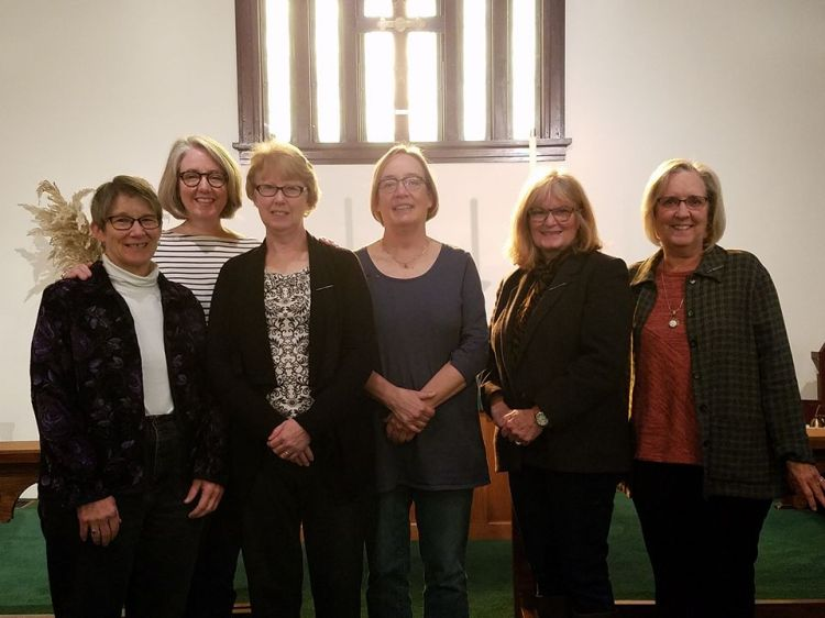 The altar guild last Sunday at Trinity Church, Kirksville, Missouri, where someone finally got these ladies to line up at their work station long enough to take a picture; usually they're so busy you can never get them to stand still. (Maria L. Evans)