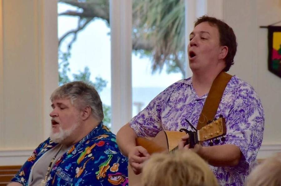 Churches are always wondering how they can raise money for their mission projects – but the answer is simple: just hire a priest who's also a member of a Beach Boys cover band, like the Rev. Patrick Sanders, left, rector at St. Peter's-by-the-Sea in Gulfport, Mississippi. A couple hours of singing and playing guitar with your buddy (J.T. Anglin), maybe a joke or two, and walk away with a fistful of dollars. It's worked every time so far. (Diocese of Mississippi)