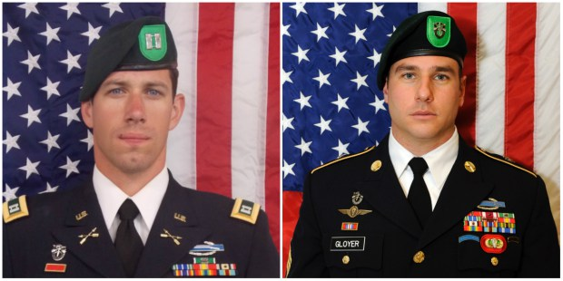 Capt. Andrew Byers, left, was on his third deployment overseas when he was killed in Afghanistan. An outstanding swimmer in high school, he was a West Point (Army) graduate who married an Annapolis (Navy) graduate. Sgt. Ryan Gloyer was a graduate of hometown Thiel College in Greenville, Pennsylvania. He was on his fourth overseas tour, including three in Afghanistan. (Army photos)