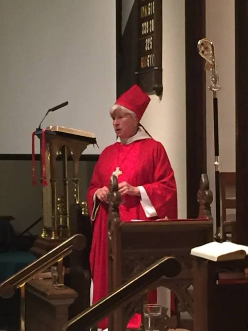 Bishop Cate in chasuble and mitre at Christ Church Cathedral, Indianapolis (Sean Sullivan)