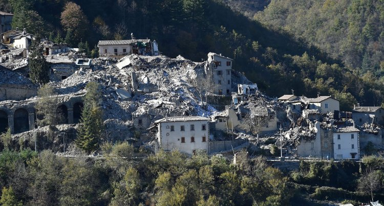 Sunday's earthquake in the Umbria region of Italy destroyed the town of Arquata del Tronto, near Norcia (Nursia), known the world over as the home of St. Benedict. (Giuseppe Bellini/Getty Images)
